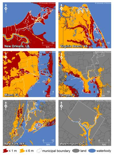 US east coast cities with Sea level rise, Credit: Jeremy Weiss, University of Arizona