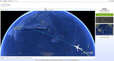 Flight tracking in Google Earth and Google Maps