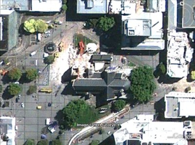 Christchurch cathedral after the earthquake, GeoEye