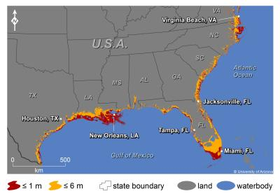Predicted effects of 1m sea level rise on US coasts, Credit: Jeremy Weiss, University of Arizona