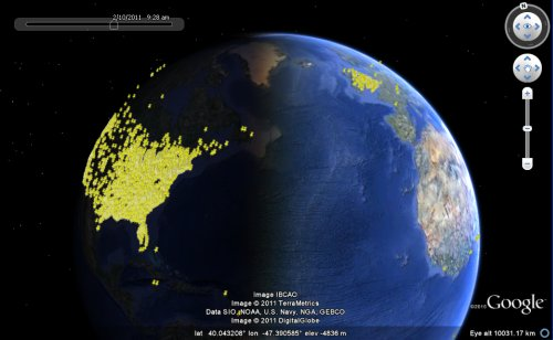 All the places with your name in Google Earth