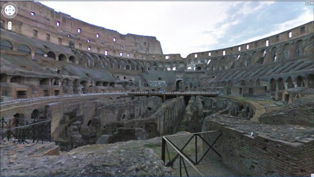 Inside the Colosseum, Rome, in Google Street View