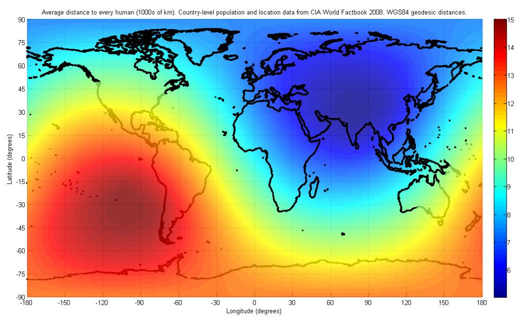 World Average Center Of Population. Map
