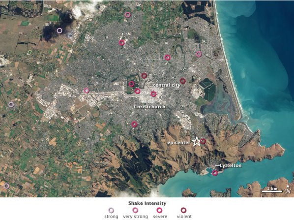 Christchurch earthquake shake intensity map