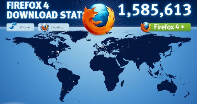 Firefox 4.0 downloads map