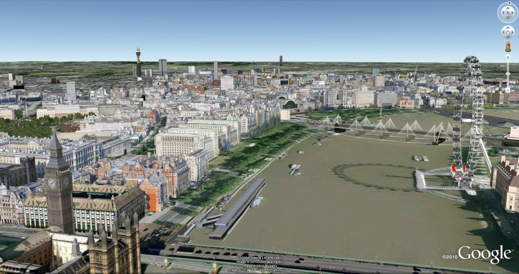 Google Earth London, view of the river Thames, Houses of Parliament, and London Eye