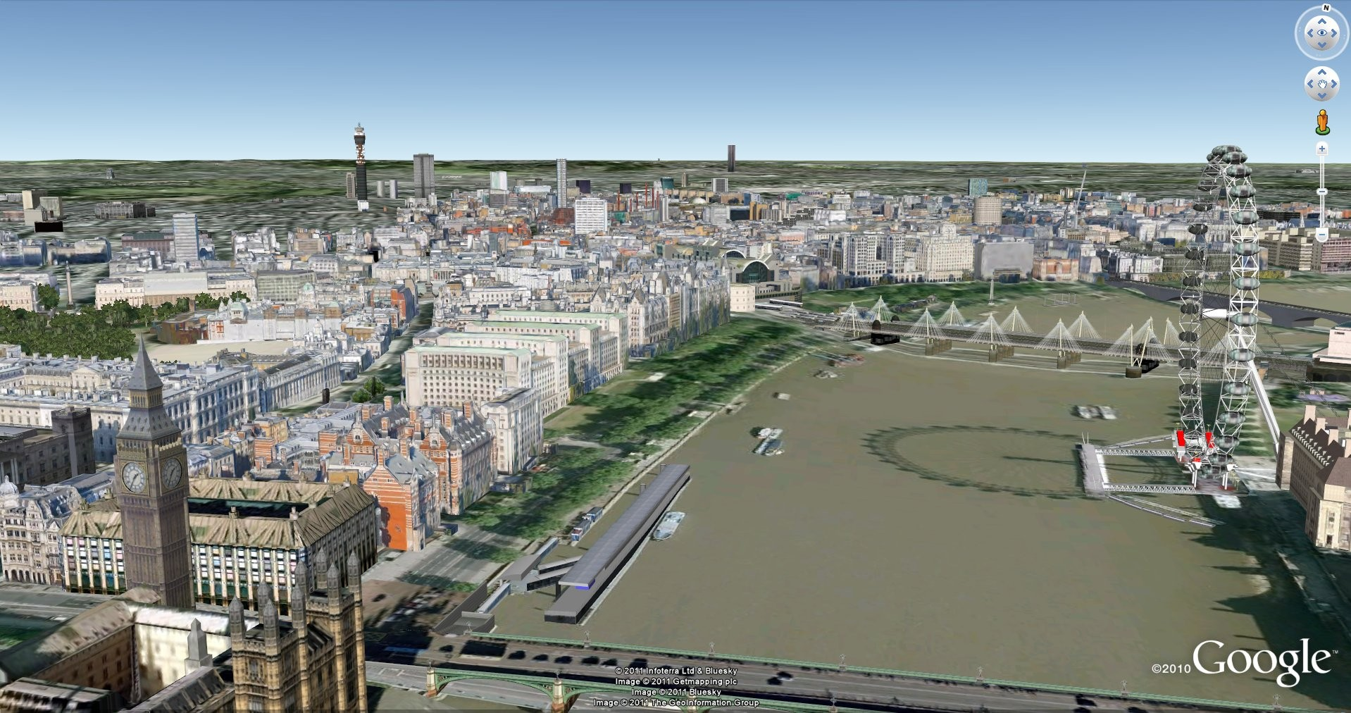 The google earth application or through the 3d option in google maps
