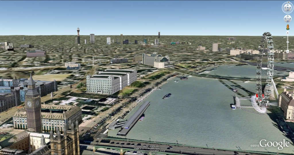 Google Earth London, before Google's 3d models were rolled out