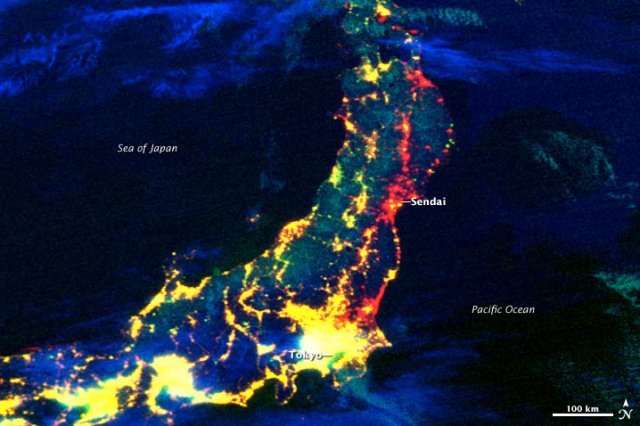 Japan power outage map, after the 2011 earthquake and tsunami