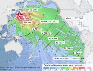 Tsunami forecast map from the Japanese earthquake