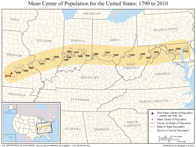 Average center of population in the USA, 1790-2010, map