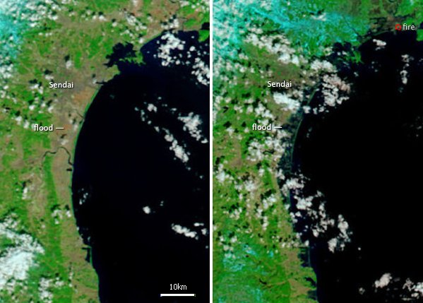 Modis before and after shots of the Japan Tsunami