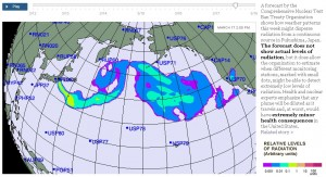 New York Times, radioactive cloud forecast map from Fukushima Daiichi