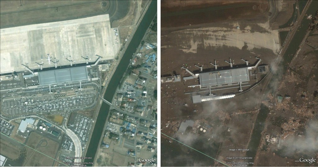 Sendai Airport, Japan, before and after the 2011 tsunami and earthquake