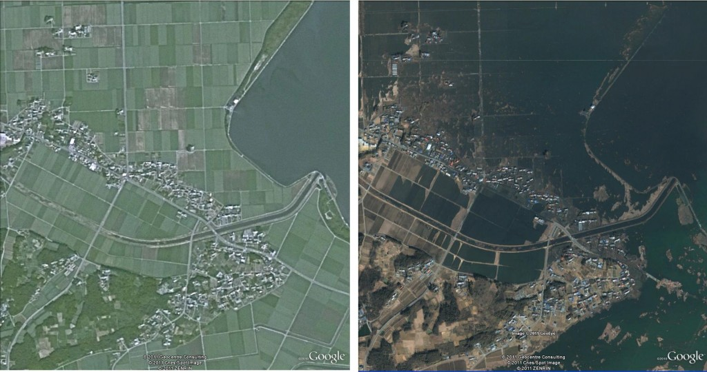 Soma, Japan, before and after the 2011 earthquake and tsunami