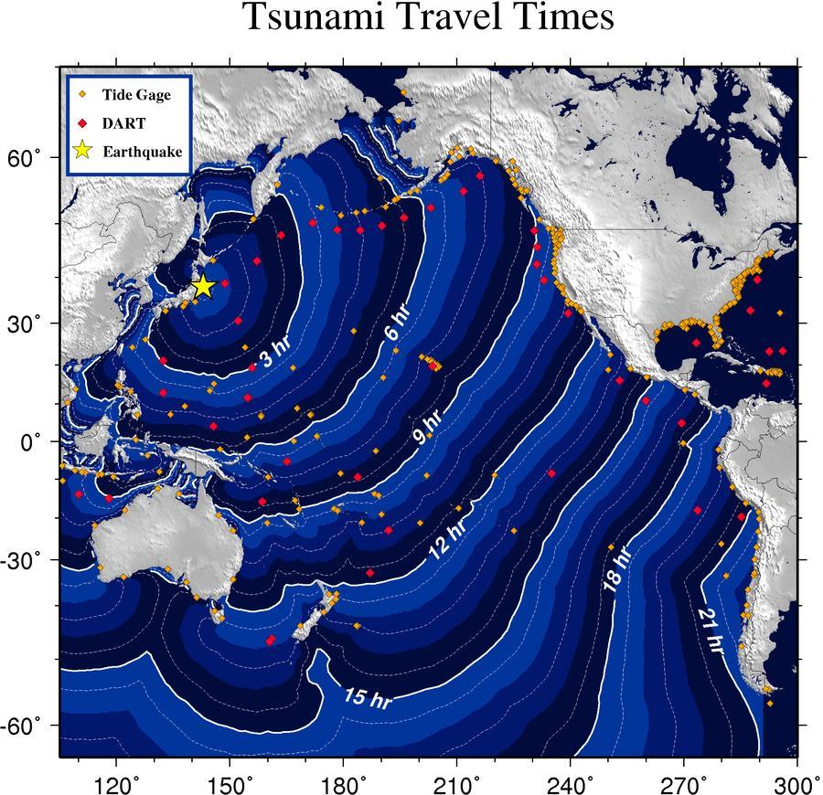 Pacific Tsunami Travel Times Forecast