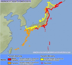 Tsunami warning map Japan