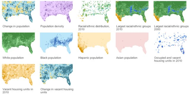 2010 US census maps from the New York Times