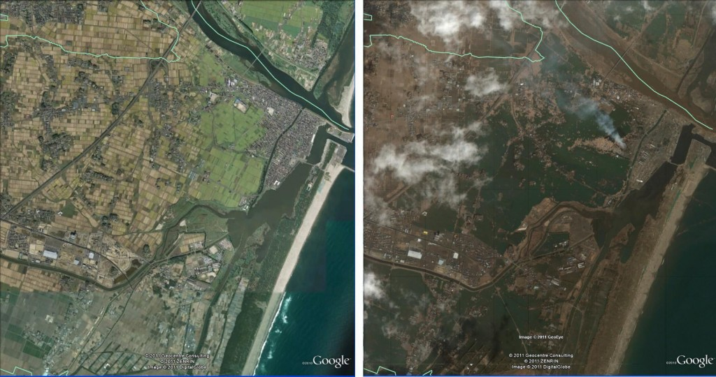 Yuriage, Natori, Japan, before and after the 2011 earthquake and tsunami