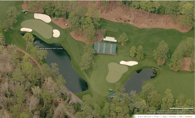 Amen Corner, Augusta National Course, US Masters as seen in Bing Maps