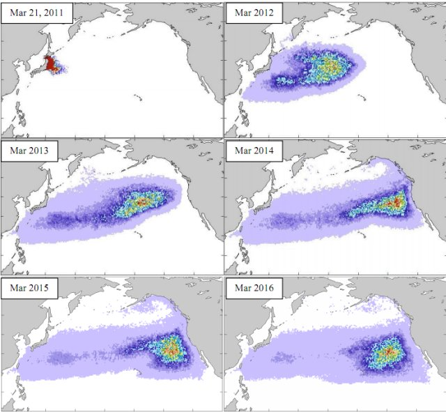 Map predicting Pacific debris drift following  the Japan tsunami