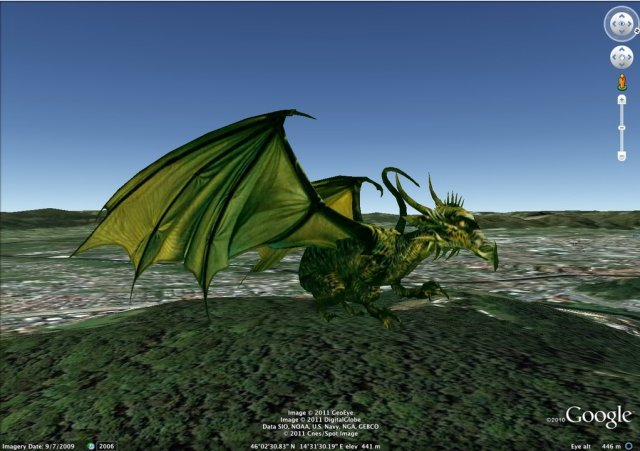 Ljubljana dragon in Google Earth