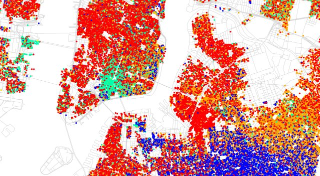 Lower Manhattan and Brooklyn, New York City, Race and Ethnicity Map, 2010 US Census