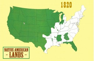 Native American lands, 1820 Map