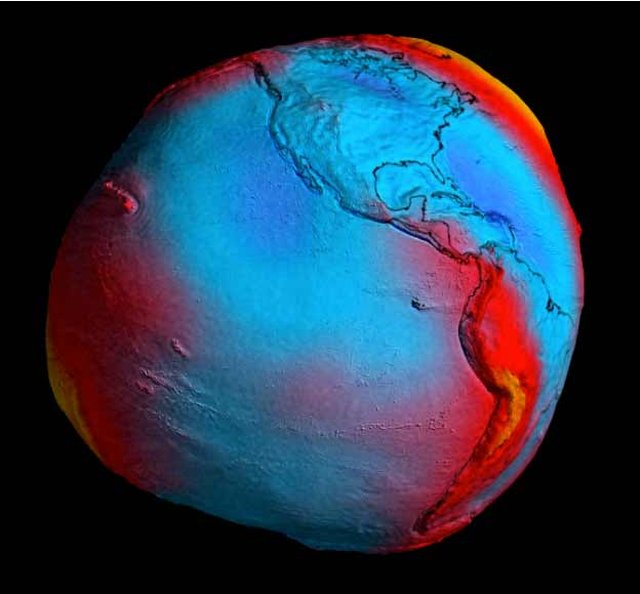 New geoid model from GoCE. With exaggerated terrain.