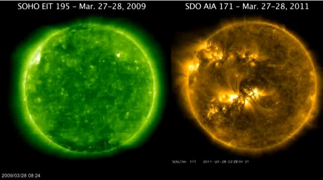 Solar activity compared. 2008 vs 2011