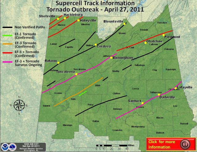 Alabama tornado outbreak April 27 2011, supercell track map