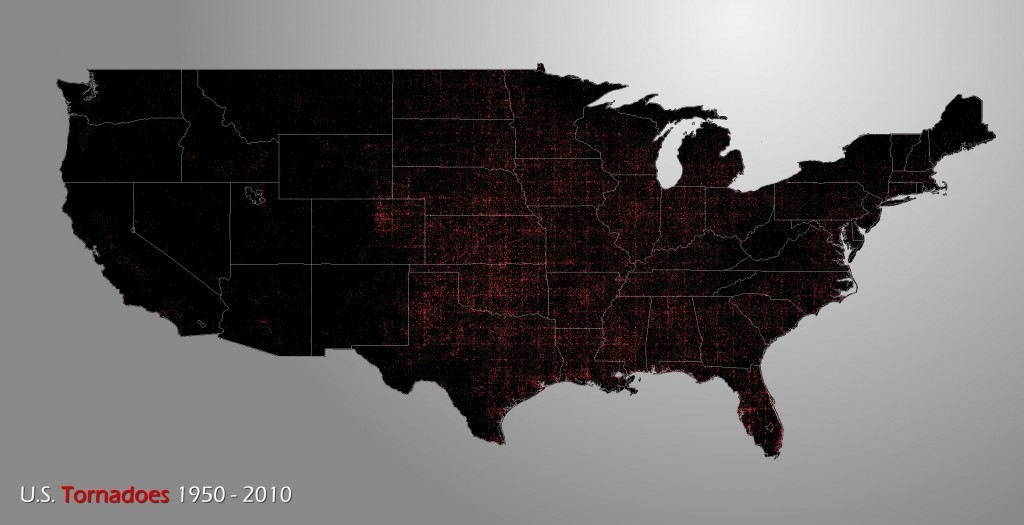 Map showing every recorded tornado in the US, 1950-2010