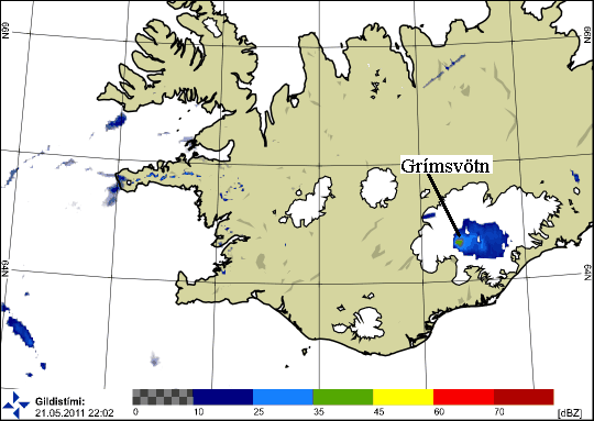 Grimsvotn Volcano Eruption, Iceland, shown on weather radar map. Click to view an animated GIF.