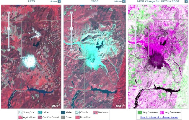 ESRI LandSat imagery comparison tool