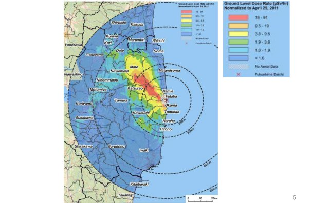 Fukushima nuclear  plant, ground radiation map