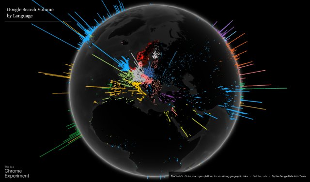 Global Google Search queries on a 3D map