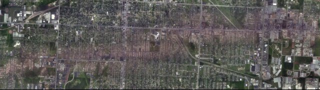 Path of the May 22, 2011 tornado in Joplin, Missouri.