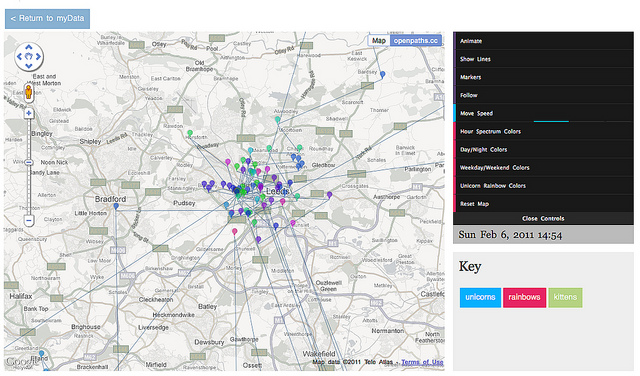 openpaths - visualizing iPhone data on a map