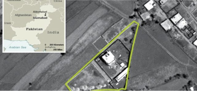 Detailed aerial photo of Osama's Abbottabad address
