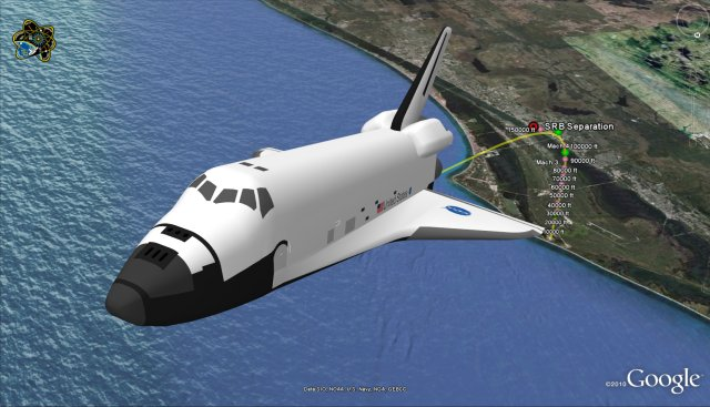 Space shuttle tracker for Google Earth