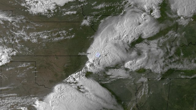Satellite image of storm system above Joplin, Missouri, moments before it spawned a devastating tornado