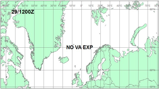 Iceland Volcano Eruption. Volcanic ash cloud forecast map for May 29, 12:00 GMT
