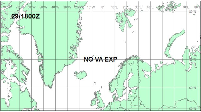 Iceland Volcano Eruption. Volcanic ash cloud forecast map for May 29, 18:00 GMT