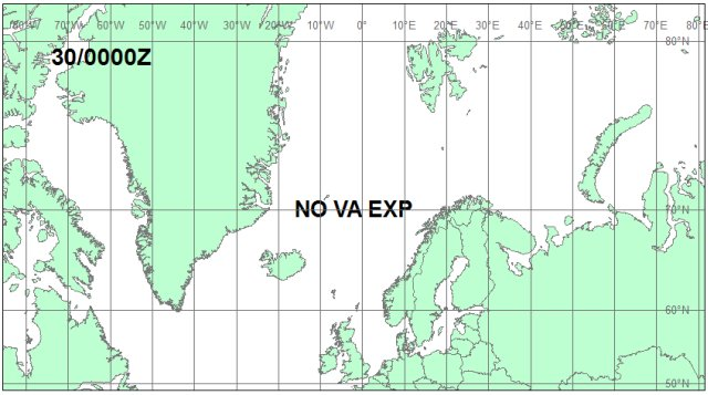 Iceland Volcano Eruption. Volcanic ash cloud forecast map for May 30, 00:00 GMT