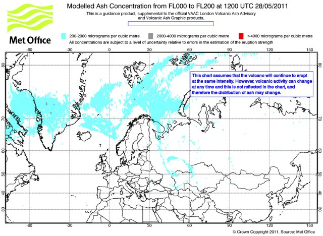 Iceland Volcano Eruption. Volcanic ash cloud forecast map for May 28, 12:00 GMT
