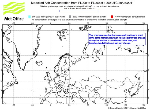 Iceland Volcano Eruption. Volcanic ash cloud forecast map for May 30, 12:00 GMT