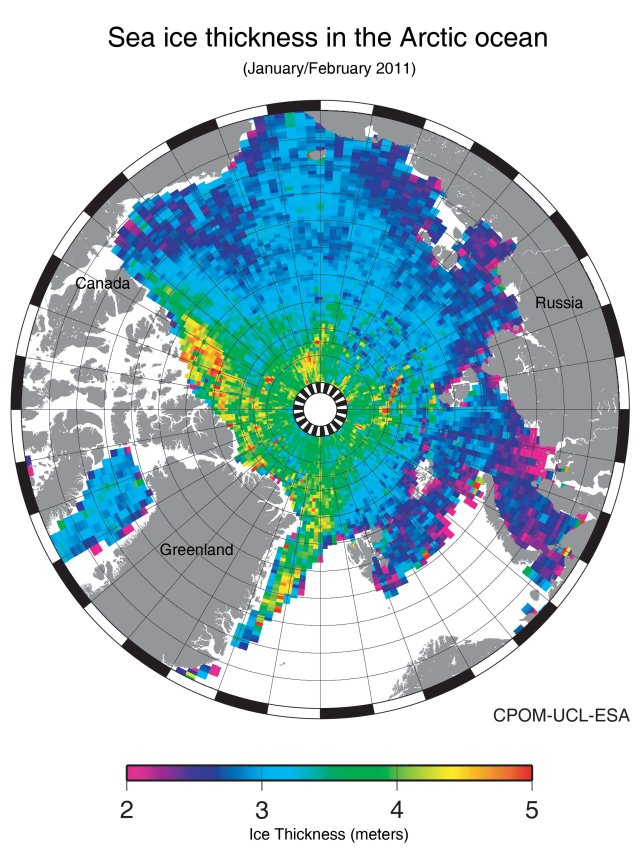 Arctic Sea Ice Thickness, Jan-Feb 2011