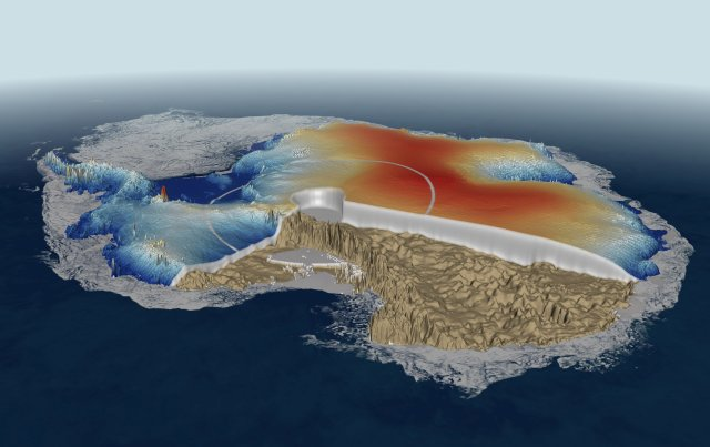 Antarctic ice thickness