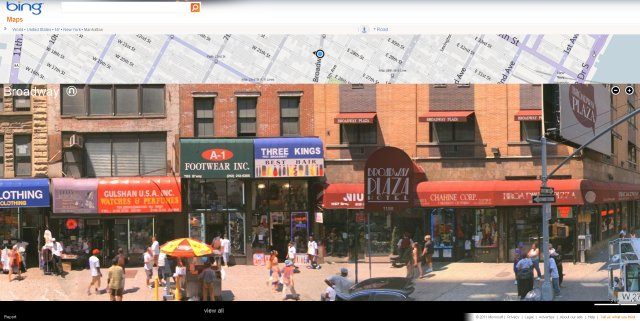 Bing Maps Streetside view of Broadway, New York