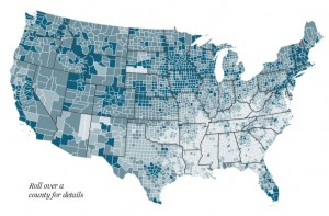 Life Expectancy in the US,  map